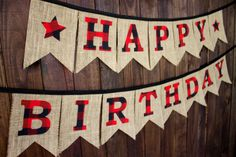 Camping theme or Lumberjack theme Happy Birthday party decoration for backyard rustic party, with red and black buffalo plaid letters on burlap by MsRogersNeighborhood Etsy shop
