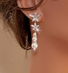 DONNA - Swarovski Pearl and Crystal Floral Bridal Earrings in White Gold