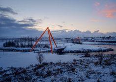 Red pyramids bridges in Reykjavík by Teiknistofan Tröð