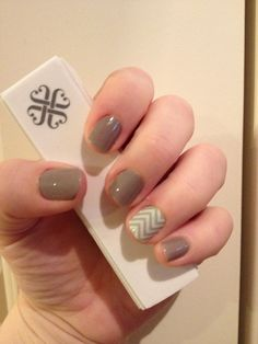 Jamberry Nail Wraps...Mint Green Chevron and Stone...my first Jamicure!!  Get yours at http://naomigentry.jamberrynails.net