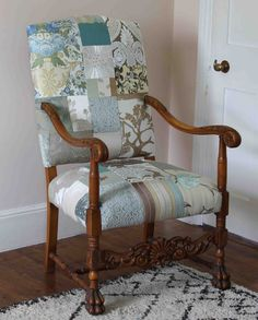 This is Grand Provence which we exhibited for the first time at the Festival of Quilts. We wanted to show this particular chair to demonstrate that we work in a range of palettes – not just the vibrant patchwork which we're known for. The colour range which we call Provence is beautifully subtle and fits in homes with muted tones – it's so popular, we've been commissioned to produce many different shapes of chair in similar fabric mixes.