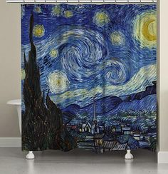 The Starry Night, by Vincent van Gogh, fabric shower curtain from Carnation will add interest to your bathroom. The night sky is filled with swirling clouds and a bright crescent moon. This sky keeps