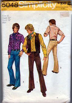 Simplicity 5048; ©1972; Mens Western Wardrobe, Sz 42, MINT, FF