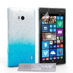 YouSave Nokia Lumia 930 Raindrop Hard Case - Blue-Clear   Mobile Madhouse