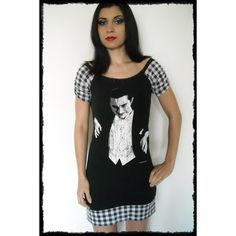 Dracula Shirt Horror Dress Bela Lugosi Classic Horror Movie Top Halloween Vampire Gothic Clothing Da (68 CAD) found on Polyvore featuring dresses, grey and women's clothing