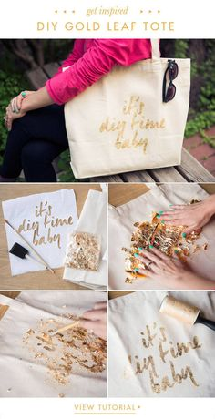 DIY: Gold Leaf Tote Diy Arts And Crafts, Crafts To Do, Creative Crafts, Leaf Crafts, Do It Yourself Inspiration, Diy Inspiration, Diy Projects To Try, Craft Projects, Pochette Diy
