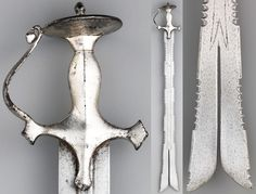 Indian zulfiqar / zulfikar (split tip) sword with tulwar hilt, 18th century, steel, silver, L. 34 in. (86.4 cm), Met Museum, Bequest of George C. Stone, 1935.