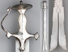 Indian zulfiqar / zulfikar (split tip) sword with tulwar hilt, 18th century, steel, silver, L. 34 in. (86.4 cm), Met Museum, Bequest of George C. Stone, 1935.