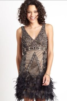 Sue Wong Vintage Black Nude Drop Waist Beaded Feather Party Dress