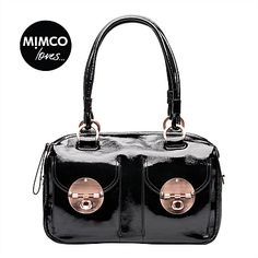 Mimco Patent Turnlock Zip Top Bag - This bag stole my heart back in 2009 I bought it and still use it every day. I need a new bag and I am going to buy it again! Mimco Bag, Black Patent Leather, Leather Bag, My Wallet, Unique Bags, Beautiful Handbags, New Bag, Everyday Fashion, At Least