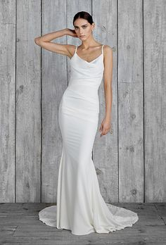 "Brides: Nicole Miller - Fall 2015. Style GH10006, ""Hampton"" spaghetti strap crepe de chine sheath wedding dress with a V-neckline, Nicole Miller"