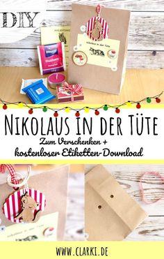 Nikolaus in der Tüte + kostenlose Etiketten zum Downloaden und Ausdrucken. Fülle die Tüte mit Süßigkeiten, Tee oder einem kleinen Geschenk. Das perfekte Last-Minute-Geschenk. #diy #selbermachen #weihnachten #clarki #nikolausstiefel #kostenlosevorlage #nikolausgeschenk