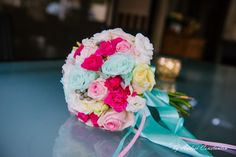 Romantic bouquet with amazing mint green roses, spray roses, lisianthus, silver brunia and white hydrangea - by Coquette Designs, photo by Foto Andrei Constantin #mintroses