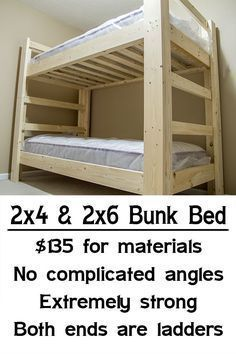 Easy Strong Cheap Bunk Bed Would Have To Add Rails On Top For These Restless Girlies Bunk Beds Cheap Bunk Beds Diy Bunk Bed