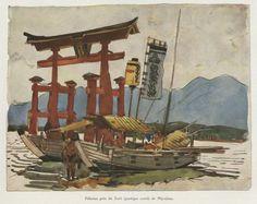 Pèlerins près du Torii (portique sacré) de Miyajima (1914). Dans L'Illustration, n° 4077, 23 avril 1921 // Mathurin Meheut