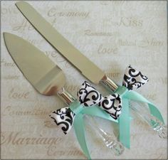 Teal damask cake cutters