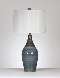 NEW ASHLEY NIOBE CONTEMPORARY GRAY TONE CERAMIC TABLE LAMP SET OF 2 PC