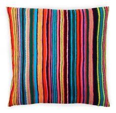 Stripes 20x20 Cotton Pillow, Multi