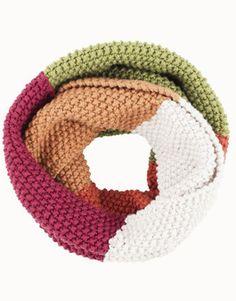 Loop im Perlmuster stricken, mit verschiedenen Farben stricken / knitting tutorial for a colourblocking loop via DaWanda.com