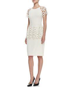 Remember this? Circle-Lace Peplum Dress, Ivory by Lela Rose at Bergdorf Goodman.