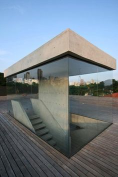 Concrete and Glass stair case underground home ITCHBAN.com // Architecture, Living Space & Furniture Inspiration #06
