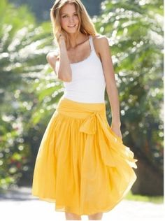 Full Belted Voile Skirt, yellow