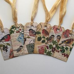 altered art tags. cute for gift tags or book marks.