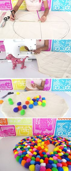 Learn how to make a pompom rug perfect for your bedroom, living room, or anywhere you can think of. This decorative accessory will brighten your days with its modern, fun and super colorful design. | LiveColorful.com