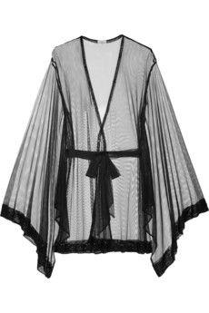 Agent Provocateur Di-Di beaded tulle kimono | NET-A-PORTER