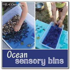 2 ocean sensory bins - one using rocks and water and one using blue gelatin || Gift of Curiosity