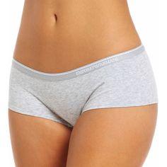 Emporio Armani 163318EC Essential Cotton Boyshort Panties ($15) ❤ liked on Polyvore featuring intimates, panties, boyshort panty, stretch panties, cotton panties, boy shorts panties and emporio armani panties
