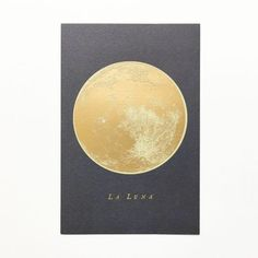 Adornment.. La Luna Full Moon gold foil postcard in 4x6 postcard size. Thick watercolor paper like texture with beautiful indentations from intricate gold foil. The card can be sent to your dear frien
