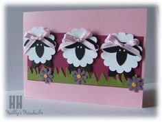 Sheep = scallop circle punch, five petal flower punch (will have to improvise here, maybe use the word window punch), Boho blossom punch, hand-cut grass Arte Punch, Sheep Cards, Punch Art Cards, Paper Punch, Kids Cards, Baby Cards, Creative Cards, Cute Cards, Easter Crafts
