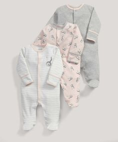 Up To 1 Month Fairy Bunny Designed Sleepsuits X2 Set Convenient To Cook One-pieces