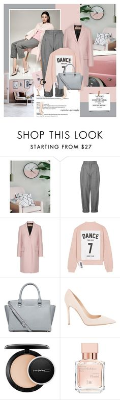 """""""Pink and Grey"""" by rainie-minnie ❤ liked on Polyvore featuring Nana', Topshop, Burberry, Studio Concrete, MICHAEL Michael Kors, Gianvito Rossi, MAC Cosmetics, Maison Francis Kurkdjian and Yves Saint Laurent"""