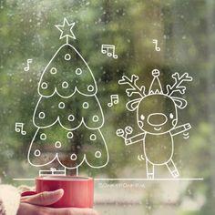 Merry christmas kerstboom raamtekening - New Sites Driving Home For Christmas, Christmas Time, Christmas Crafts, Merry Christmas, Christmas Decorations, Xmas, Reindeer Craft, Christmas Stationery, Window Art