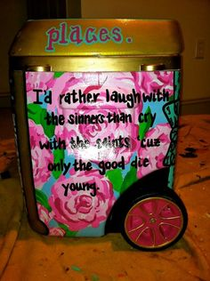 paint the wheel rim! Crafts To Do, Crafts For Kids, Arts And Crafts, Fraternity Crafts, Carolina Cup, Cooler Painting, Alpha Chi, Delta Gamma, Billy Joel