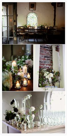 love the simplicity of the white candles in varying size vases