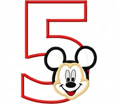 Mr. Mouse Birthday Number five fifth 5 5th Applique Design Applique Machine Embroidery Design elmo by CindysAppliques on Etsy Embroidery Designs, Applique Design, Elmo, Appliques, Symbols, Letters, Unique Jewelry, Birthday, Handmade Gifts