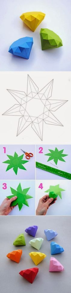 I'll try this with glittering origami - DIY Paper Diamonds Fun Crafts, Diy And Crafts, Crafts For Kids, Arts And Crafts, Paper Crafts, Diy Origami, Origami Paper, Origami Tutorial, Origami Mobile