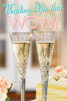 """This pair looks as splendid as the newlyweds. Our exquisite hand-cut lead crystal flutes by Galway Irish Crystal® offer wishes of """"cheers"""" with spectacular elegance. On each, we delicately etch the bride and groom's names and wedding date; 2 lines, 20 characters each line. Set of two, each measures 10 1/2"""" tall. A sparkling way to toast the happy couple. Save 15% today! *Offer expires 12/31/15"""