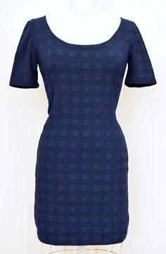 Vintage GOTTEX Israel Stretchy Jersey Mini Dress Short Sleeve Navy ~ Size 40 EUR #Gottex #StretchBodycon