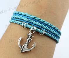 Ancient silver cool anchor bracelet with blue by luckystargift, $3.59