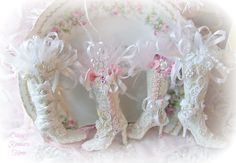 Shabby chic pink white mini Christmas tree boot ornaments by Olivia's Romantic Home - Etsy <3 <3 <3