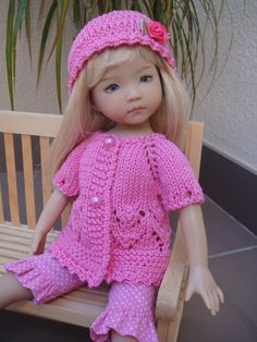 Handknitted sweater & hat for  LITTLE DARLING doll - 13 inches  (Dianna Effner)