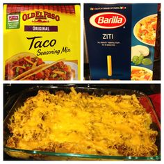 Taco Ziti -  1 pound meat of choice (whatever you would use for tacos) 1 cup of water 1 packet of taco seasoning 1 box ziti pasta 1 brick of cream cheese (8 oz) 1 1/2 cups of shredded cheddar cheese Preheat oven to 350. Make pasta according to box and drain. Brown meat and drain, add water and taco seasoning, simmer 5 minutes. Add cream cheese, let melt and mix. In a casserole dish layer pasta, then half of cheese, then meat, and top with remaining cheese. Bake uncover for 15-20 minutes.