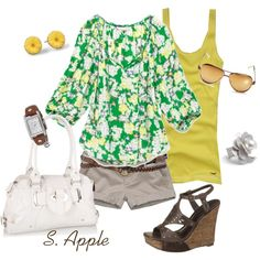 Green Floral Top, created by sapple324 on Polyvore