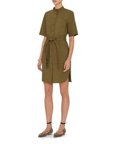 Adam Lippes Waist Tie Shirt Dress: The four cargo pocket dress with flat colar, button front, short sleeves and self tie belt sash at waistline. In olive. Fabric: 100% cotton Made in USA. Model Measurements: Height 5'11; Waist 25 ; Bust 33 wearing size 2 Length from shoulder to hem: ...