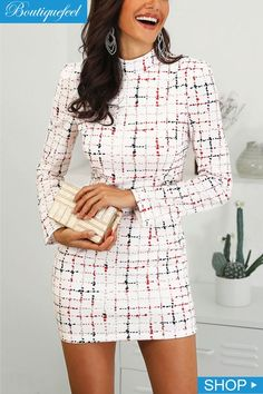 00286d01e3b75 Shop Colorful Plaid Mock Neck Work Dress – Discover sexy women fashion at  IVRose