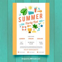 Party festival poster with summer elements Free Vector